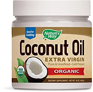 Nature's Way Organic Extra Virgin Coconut Oil- Pure, Cold-pressed, Organic, Non-GMO, Gluten-free- 16 Ounce