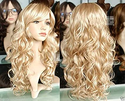 LZLAN Harajuku Anime Ladies Dance Party Wig Cosplay Long Curly Wavy Costume Synthetic Fiber Blonde Wigs