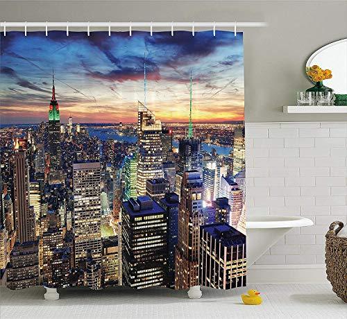 (LLuotryce Bath Curtain, Bathroom Decor Set with Hooks, New York Shower Curtain, Skyline of NYC with Urban Skyscrapers at Sunset Dawn Streets USA Architecture, Fabric Bathroom Decor Orange)