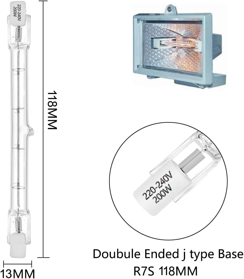 R7s Linear Halogen Flutlicht 200W J118 Sicherheitsgl/ühlampe 118mm L/änge 3100lm 2700K Dimmbar 4er Pack