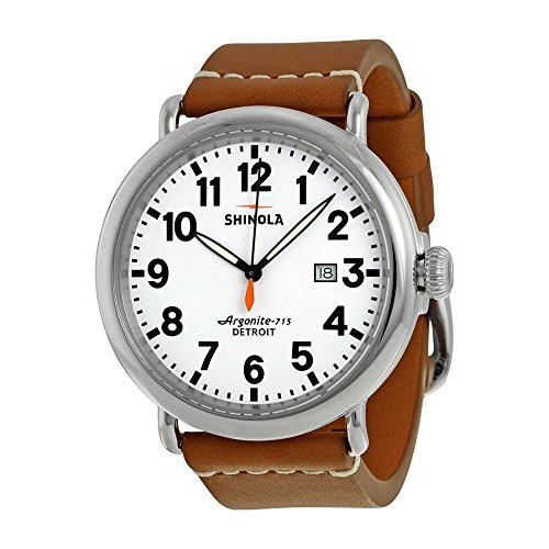 Shinola The Runwell White Dial Maple Aniline Latigo Leather Mens Watch S0100111