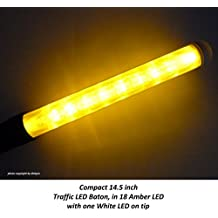 imported by diskpro 14.5 inch Amber LED Traffic Safety Wand Flashlight. Featured 18 Amber LED with 2 flashing modes (Blinking & Steady-glow) plus 1 White LED on tip, using 3 AA-size batteries.