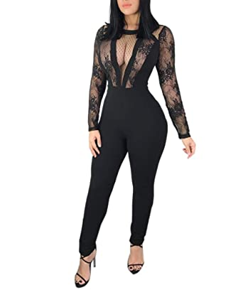 f5ef02ff4a8 Women s Jumpsuits Sexy Lace Mesh Long Sleeve Bodycon Long Jumpsuit Rompers  Playsuit (Black