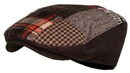 Men's Multi Pattern Patchwork Wool Blend Newsboy Ivy Golf Hunting Hat (MULTI-RED, (Wool Hat Patterns)