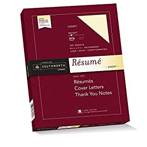Southworth Exceptional Resume Paper, 100% Cotton, 24 lb, Ivory, 100 Count (R14ICF)