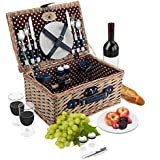 Wicker Picnic Basket Set | 2 Person Deluxe Vintage Style Woven Willow Picnic Hamper | Ceramic Plates, Stainless Steel Silverware, Wine Glasses, S/P Shakers, Bottle Opener, Summer Picnic Kit (Natural)