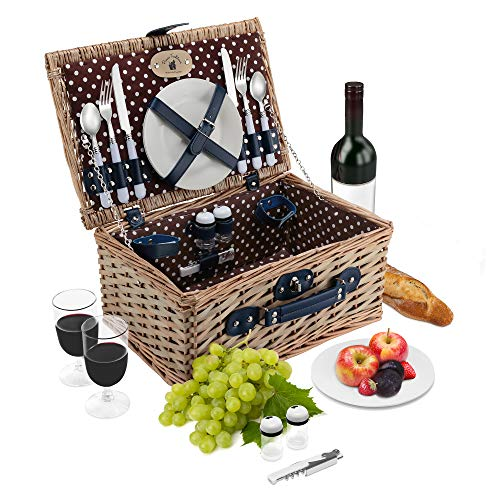 - Wicker Picnic Basket Set | 2 Person Deluxe Vintage Style Woven Willow Picnic Hamper | Ceramic Plates, Stainless Steel Silverware, Wine Glasses, S/P Shakers, Bottle Opener, Summer Picnic Kit (Natural)