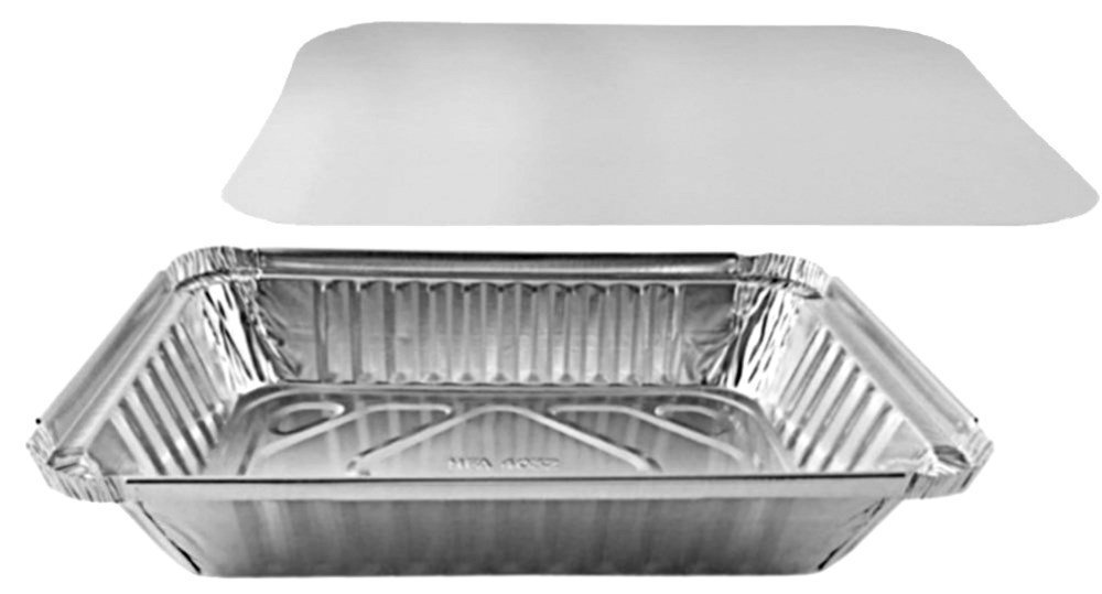 Pactogo 2 lb. Oblong Aluminum Foil Take-Out Pan with Board Lid Disposable Containers 8.44'' x 5.94'' x 1.75'' (Pack of 500 Sets)