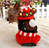 NACOCO Pet Costumes Dog Christmas Suit Dog Elk Costume Dog Birthday Clothes (Brown, Small)