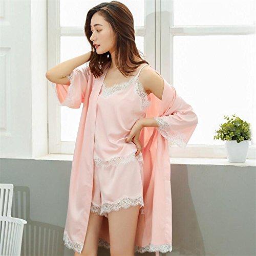 donna estate Rosa Lace vestiti BOBOJW pigiama corti da rilassante vestaglie 3pcs rosa accappatoio polso medium fSw1wnxtq6