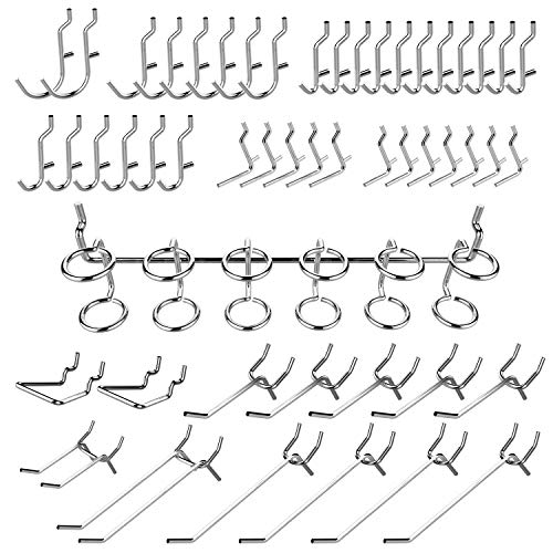 Hiltex 53106 Pegboard Hooks Organizer Accessories Set, 50 Piece | Chrome Plated Assortment