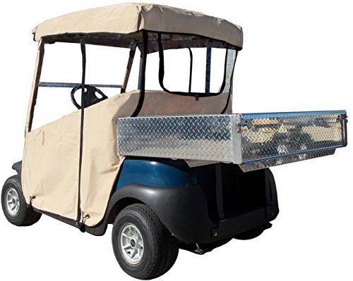 Utility Golf Bag (3 Sided Golf Cart Cover (TAN, EZGO TXT w Utility Box / Rear Facing Seat))