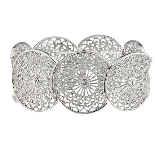 Lux Accessories Xmas Christmas Holiday Silvertone Filigree Rhinestone Round Stretch Bracelet
