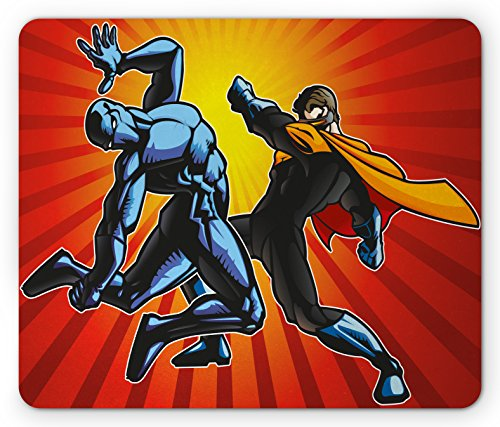 Superhero And Villain Ideas (Superhero Mouse Pad by Lunarable, Hero and Ninja in Battle Combat Fighters Villain Punching Fist Fantasy Print, Standard Size Rectangle Non-Slip Rubber Mousepad, Multicolor)