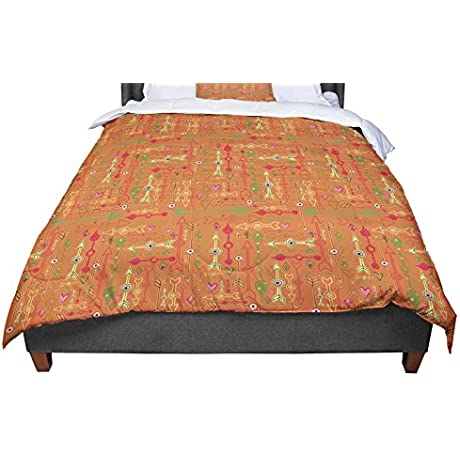 KESS InHouse Jane Smith Vintage Arrows Yellow Orange King Cal King Comforter 104 X 88