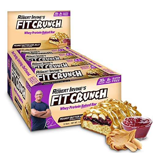 FITCRUNCH Protein Bars, Designed by Robert Irvine, Protein Bar, Gluten Free, Award Winning Taste, Whey Protein Isolate, Low Sugar (12 Bars, Peanut Butter & Jelly)