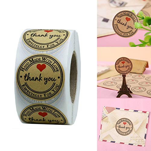 Tabs File Hanging Adhesive Printable (Label Sticker with Love Pulison 1 Inch Natural Kraft Handmade with Love Stickers with Black Color Coding Labels Total 500 Adhesive Labels Per Roll)