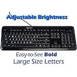 Ivation Letter Illuminated Large Print Full Size Multimedia Computer Keyboard - Gentle, Crisp & Clear White LED Lights Illuminate Each Key with Adjustable Brightness