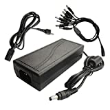 Lsgoodcare 12V 7A CCTV Surveillance Power Adapter & 1 to 8 Power Splitter and AC Plug for CCTV Surveillance Security Cameras