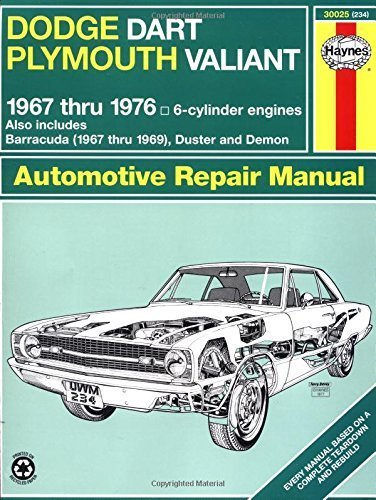 Dodge Dart and Plymouth Valiant Plus Challenger and Barracuda Six Cylinder Engines 1967-76 Owner's Workshop Manual (Haynes Owners Workshop Manuals) by J. H. Haynes (1988-09-01)