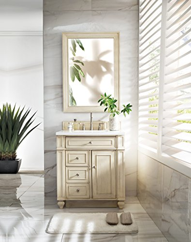 30 in. Single Vanity with in Snow White Quartz Top in Vintage Vanilla Finish from James Martin Furniture