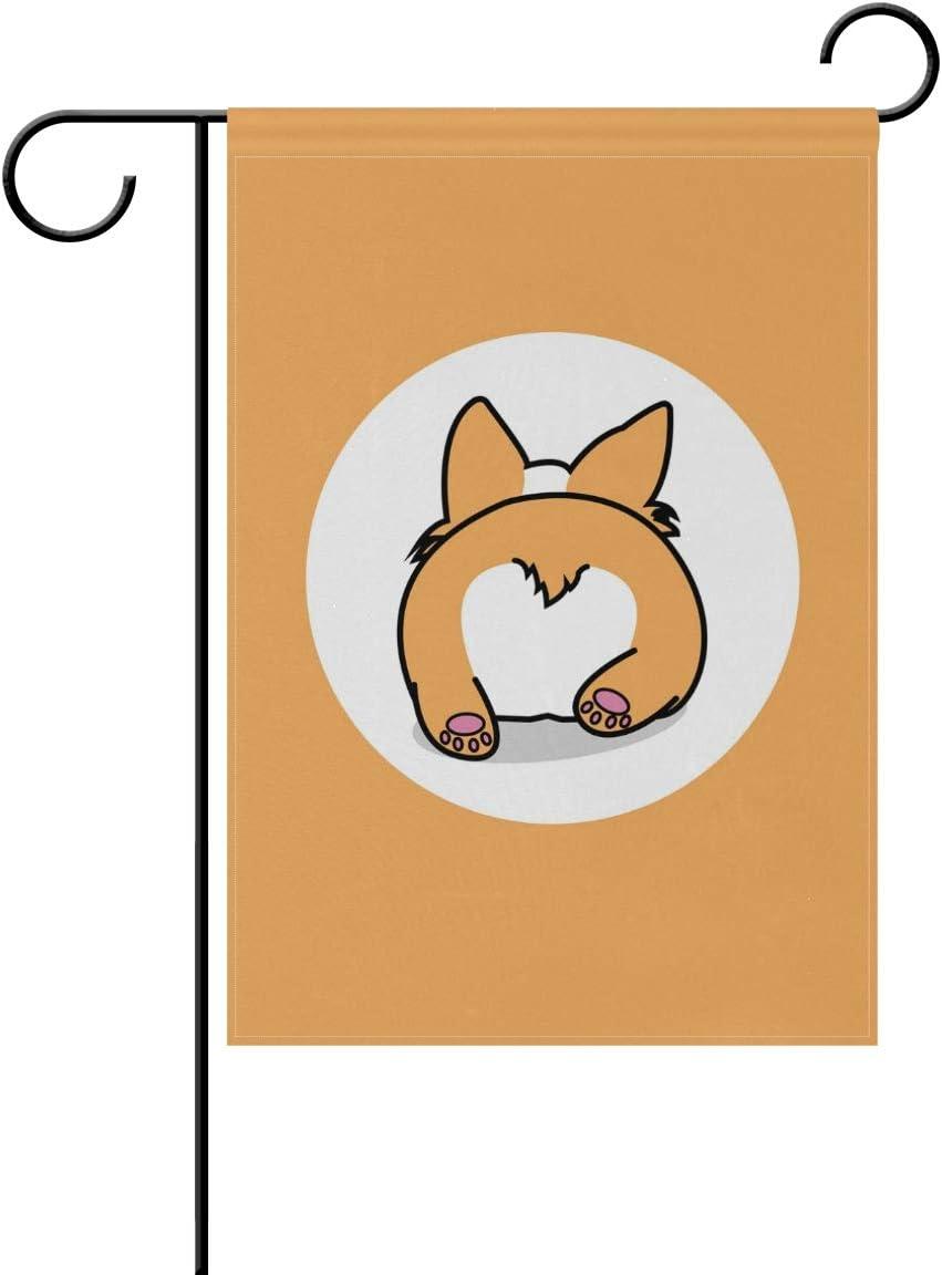 Hokkien BlueViper Corgi Butt Puppy Dog Lying Garden Flag Double Sided 12 x 18 Inch, Yard Flags, Decorative Small Garden Flags, Outdoor Lawn and Garden Décor