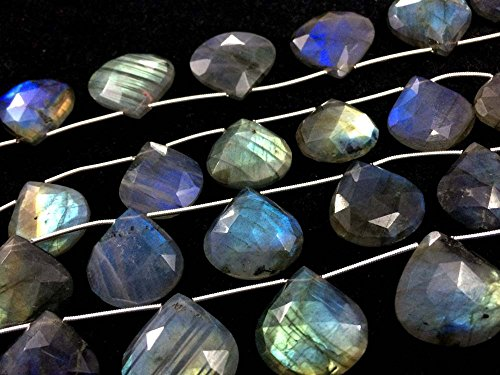 AAA LABRADORITE FACETED HEART SHAPE BRIOLETTES BEADS, LABRADORITE STONE 20-25MM (Faceted Heart Briolette Beads)