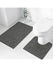 TREETONE Chenille Bath Mat 2 Piece Bathroom Rugs Set , 20x20 Inchs U-Shape Contoured Toilet Mat & 20x32 Inchs Rug ,Soft ,Water Absorbent Plush Rugs for Tub Shower & Bath Room -Charcoal Gray