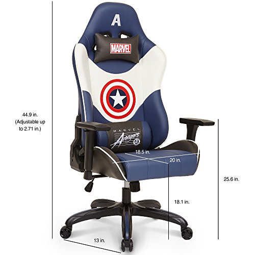 51sdTz7gYFL - Licensed Marvel Avengers Captain America Superhero Ergonomic High-Back Swivel Racing Style Desk Home Office Executive Computer Video Gaming Chair with Headrest and Lumbar Support, Neo Chair