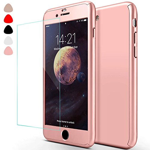 iphone 6 Plus Case,sxxissky Ultra-thin Full Body Coverage Hard Hybrid Plastic with [Tempered Glass Screen Protector]Protective Case Cover & Skin for Apple iPhone 6 Plus/iphone 6S Plus 5.5(Rose Gold)