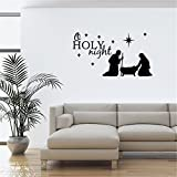 mnmkz Life Quotes Wall Stickers Holy Night Baby Jesus Christmas Living Room 15.7X8.7Inch