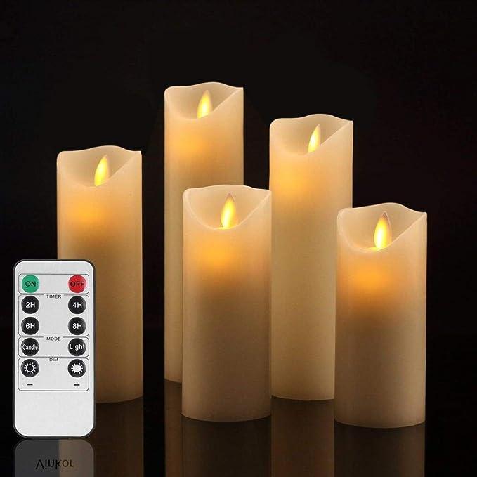 Luz de la noche Vela sin llama Juego de velas con batería Vela sin llama decorada Columna de cera verdadera con llama LED móvil y control remoto de 10 teclas Temporizador de