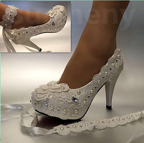 Ivoire 9.5 US JINGXINSTORE 8 cm 7,6 cm Talon à Talon Ivoire Dentelle Nœud Perle de Cristal Chaussures de Mariage mariée Taille 5–11