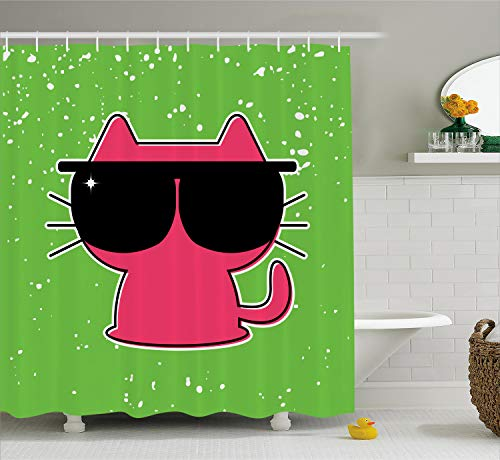 Ambesonne Kids Decor Shower Curtain, Cute Cat with Sunglasses Hipster Baby Animal Nursery Children Design, Fabric Bathroom Decor Set with Hooks, 70 Inches, Lime Green Pink Black