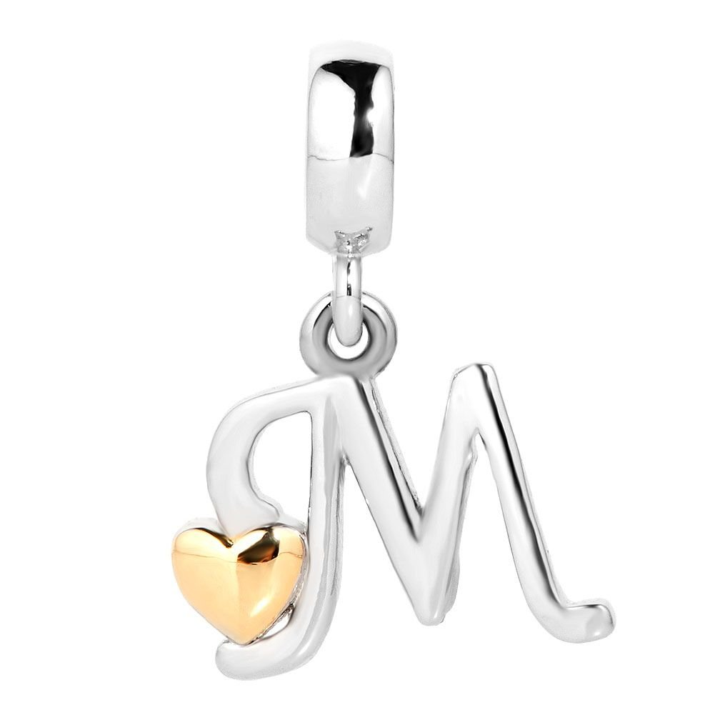 DemiJewelry Letter Initial A-Z Alphabet Beads Dangle Golden Heart Charms for Bracelets