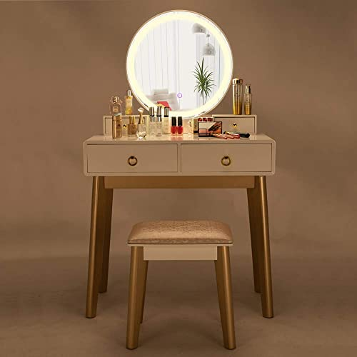 SSLine Vanity Table Set 3 Color LED Lighting Modes Touch Screen Dimming Mirror,Dressing Table with 4 Sliding Drawers and Stool, Modern Bedroom Makeup Table for Woman Girls