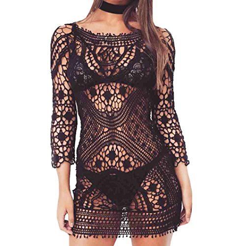 Bestyou Women's Floral Lace Crochet Cover up Tunic Tops Shirts Free Size (Black A) (Top Crochet Tunic)