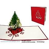 LIN - Pop Up 3D Biglietto d'auguri di Natale, Albero di Natale con regali