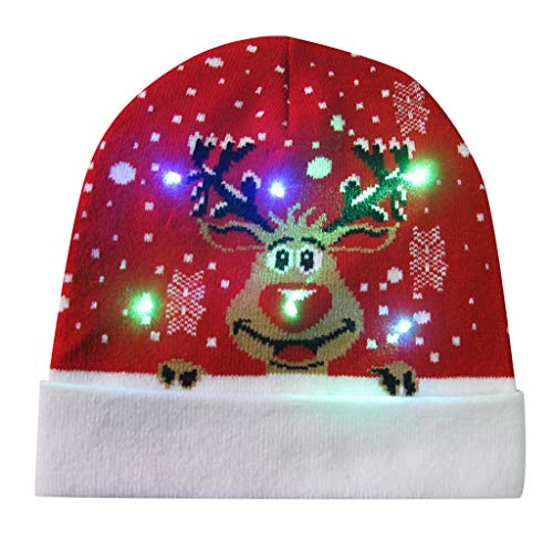 LED Beanie Knit Hat,Crytech Funny Clolorful LED Light Up Winter Warm Knitted Cable Skull Snow Ski Cap with Pom Pom for Women Men Kids Christmas Ugly Holiday Flashing Party Favor Hat (Deer)