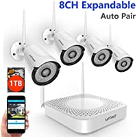 【Expandable 960P NVR】SAFEVANT 8CH 960P NVR Wireless Security Camera System, 4pcs 960P Indoors&Outdoors Wireless Security Cameras,65ft Night Vision,1TB HDD Pre-installed ,Auto-Pair,Plug&Play