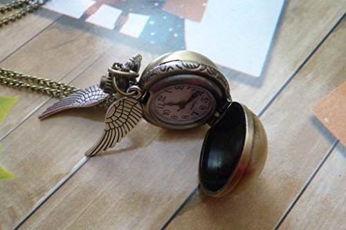 Steampunk Enchanted - Golden Ball - Pocket Watch - Locket Pendant Necklace - Antique Silver Wings from Ping