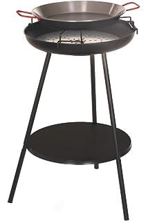 Alperk Roc - Paellero barbacoa, 51.5 x 51.5 x 77 cm, color negro