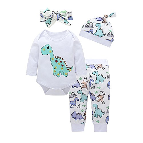 - Rakkiss Kids Clothes Set 4pcs Dinosaur Print Romper+Pants+Hat+Headband Short-Sleeved Tops Pants Set White