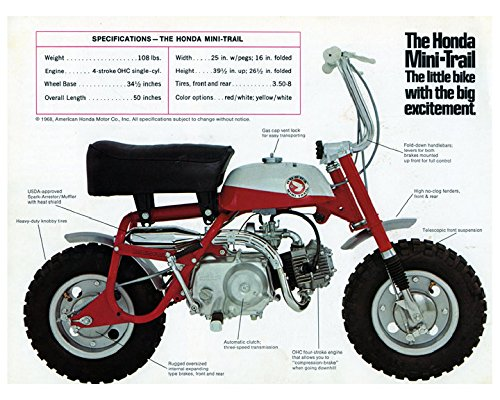 amazon com 1968 1969 honda 50 mini trail minibike mini bike rh amazon com Honda Mini Dirt Bike Mini Bikes for 100 Dollars