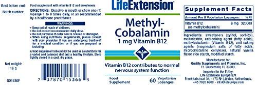 Metilcobalamina, 1 mg, 60 pastillas Veggie - Life Extension: Amazon.es: Salud y cuidado personal