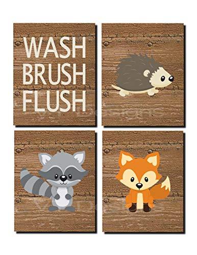 (CANVASPrtint Woodland Bathroom Decor Kids Bathroom Art Woodland Woodland Bathroom Art Wash Brush Flush Fox Raccoon Set of 4 Prints or Canvas 8x10 inch Each)