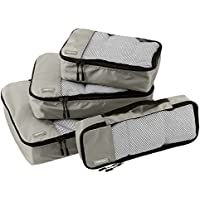 AmazonBasics 4-Piece Packing Cube Set - Small, Medium, Large, and Slim (Grey)