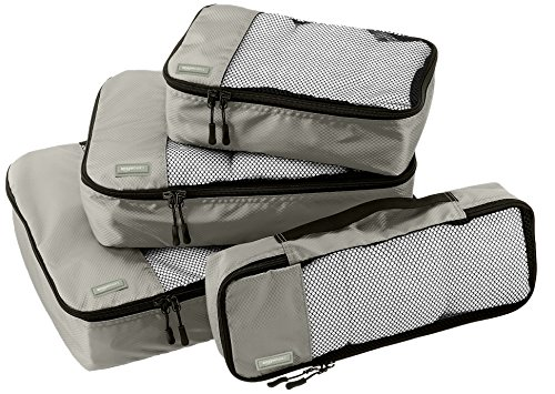AmazonBasics 4-Piece Packing Cube Set - Small, Medium, Large, and Slim, Gray (Piece 3 Cubes Large Packing)
