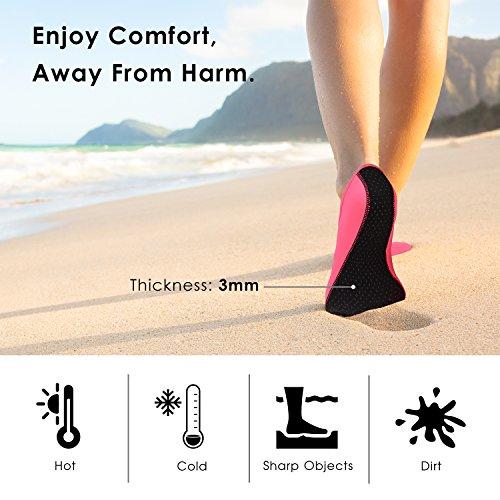 MoKo Barfuß Wasser Schuhe für Männer Frauen, Quick-Dry Aqua Socken Wassersport Schuhe für Schwimmen, Strand, Pool, Surfen, Sand, Yoga Übung Rosa