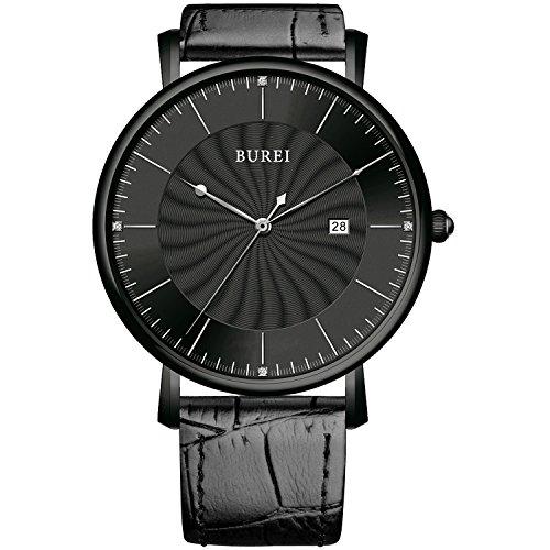 BUREI® Unisex Ultradünnes Großes Ziffernblatt Quarz Uhr mit schwarzem Kalbslederarmband, schwarzes Drehwuchs-Ziffernblatt